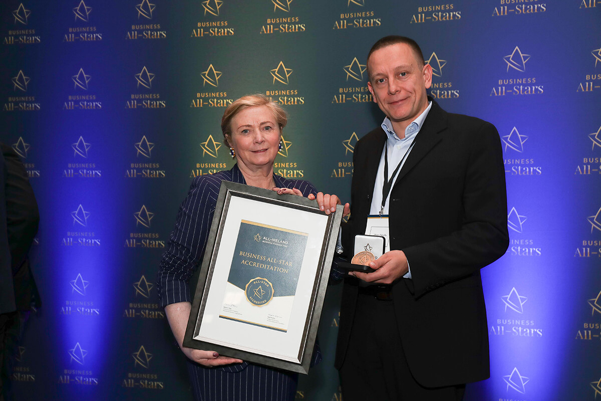 CAPTION: Diego Zanella - Aelia, receiving Business All-Star Accreditation from Frances Fitzgerald, MEP, at Croke Park