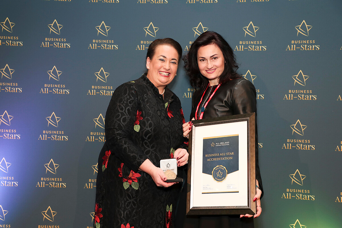 CAPTION: Asta Jakubson - Asta Fashions, receiving Business All-Star Design Leader Accreditation from Elaine Carroll, CEO, All-Ireland Business Foundation at Croke Park.