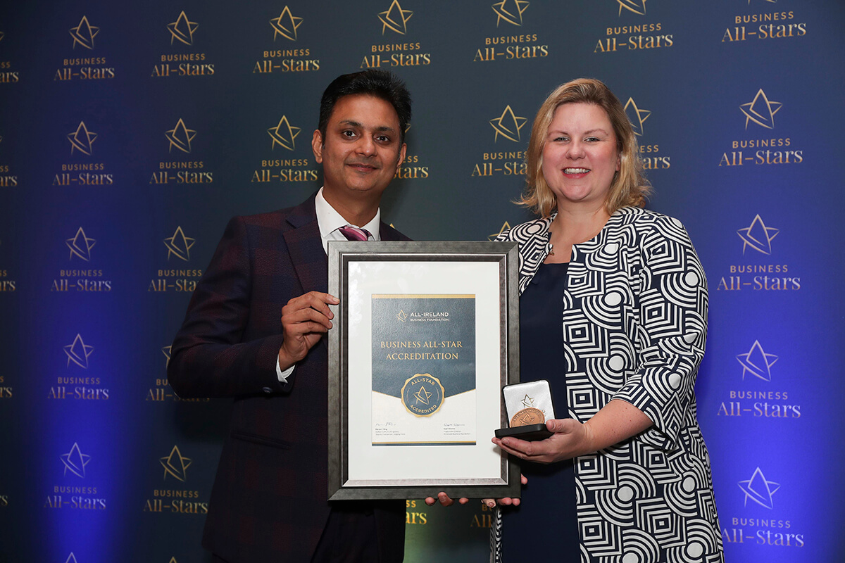 CAPTION: Rebecca Harrison - Fishers of Newtownmountkennedy Ltd, receiving Business All-Star Accreditation from Kapil Khanna, MD, AIBF at Croke Park