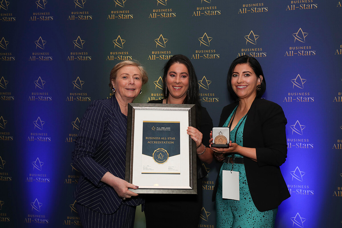 CAPTION: Linda & Gillian - Meylers Fish Merchants, receiving Business All-Star Accreditation from Frances Fitzgerald, MEP, at Croke Park