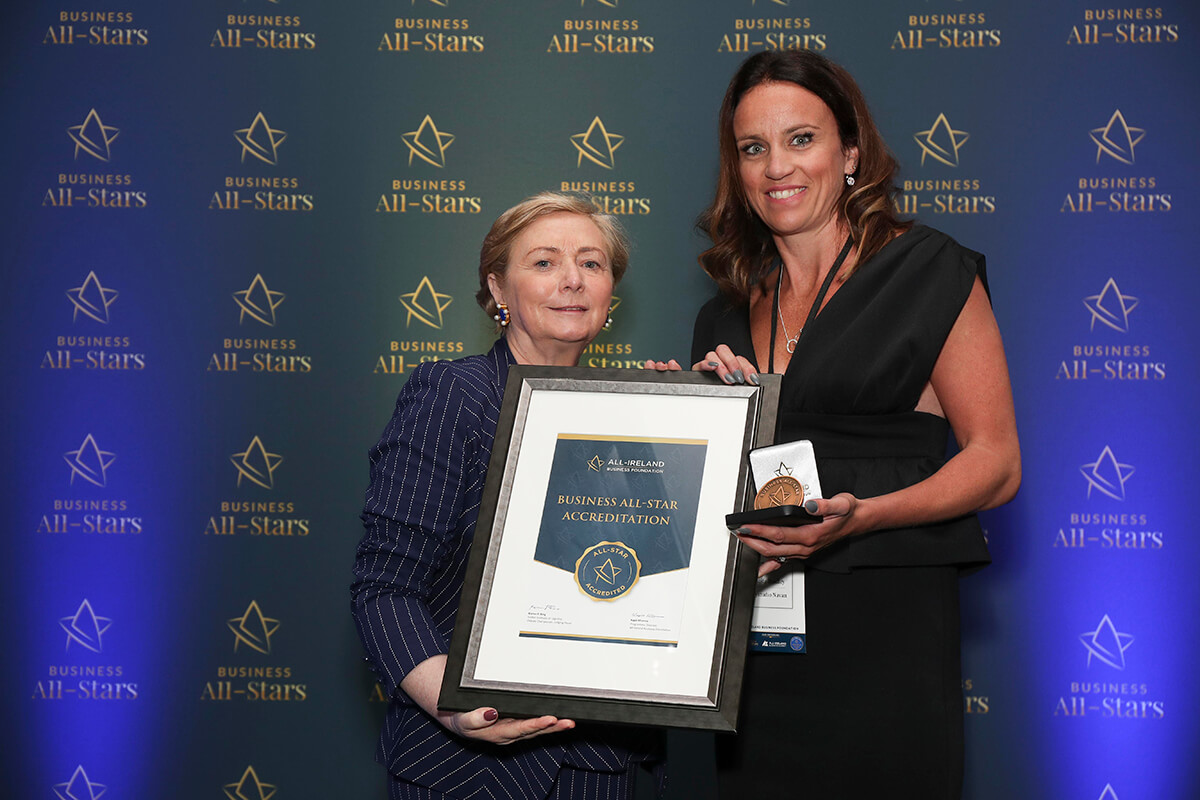 CAPTION: Aoife Bradley - MyStudio Navan, receiving Business All-Star Lifestyle Leader Accreditation from Frances Fitzgerald, MEP, at Croke Park
