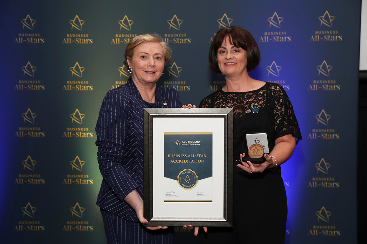 CAPTION: Vicki McGowan - Outsource2day, receiving Business All-Star Thought Leader Accreditation from Frances Fitzgerald, MEP, at Croke Park