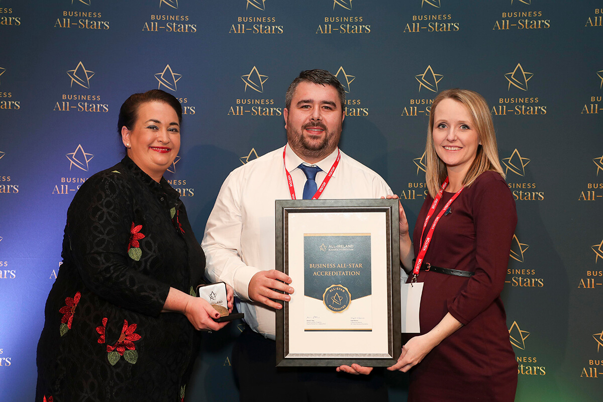 CAPTION: Martin & Lisa Sheehan - School Fitness Ireland, receiving Business All-Star Accreditation from Elaine Carroll, CEO, All-Ireland Business Foundation at Croke Park.