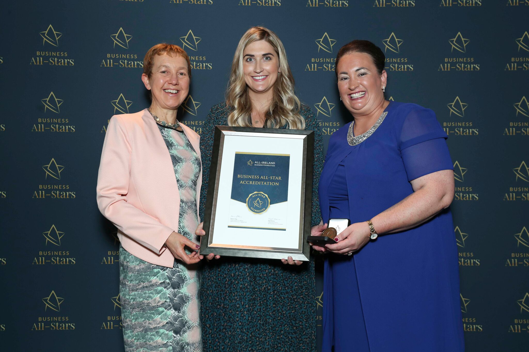 Geraldine - MEDISKIN receiving Business All-Star Accreditation at Croke Park from Dr Briga Hynes, Kemmy Business School, University of Limerick and Elaine Carroll CEO, All-Ireland Business Foundation.