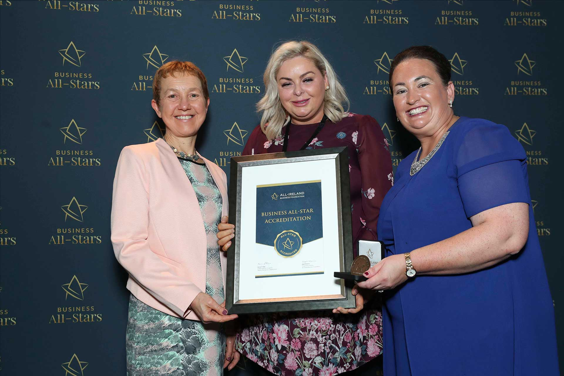 Michelle Furey Lawlor- Jejuve Aesthetics receiving Business All-Star Accreditation at Croke Park from Dr Briga Hynes, Kemmy Business School, University of Limerick and Elaine Carroll CEO, All-Ireland Business Foundation.