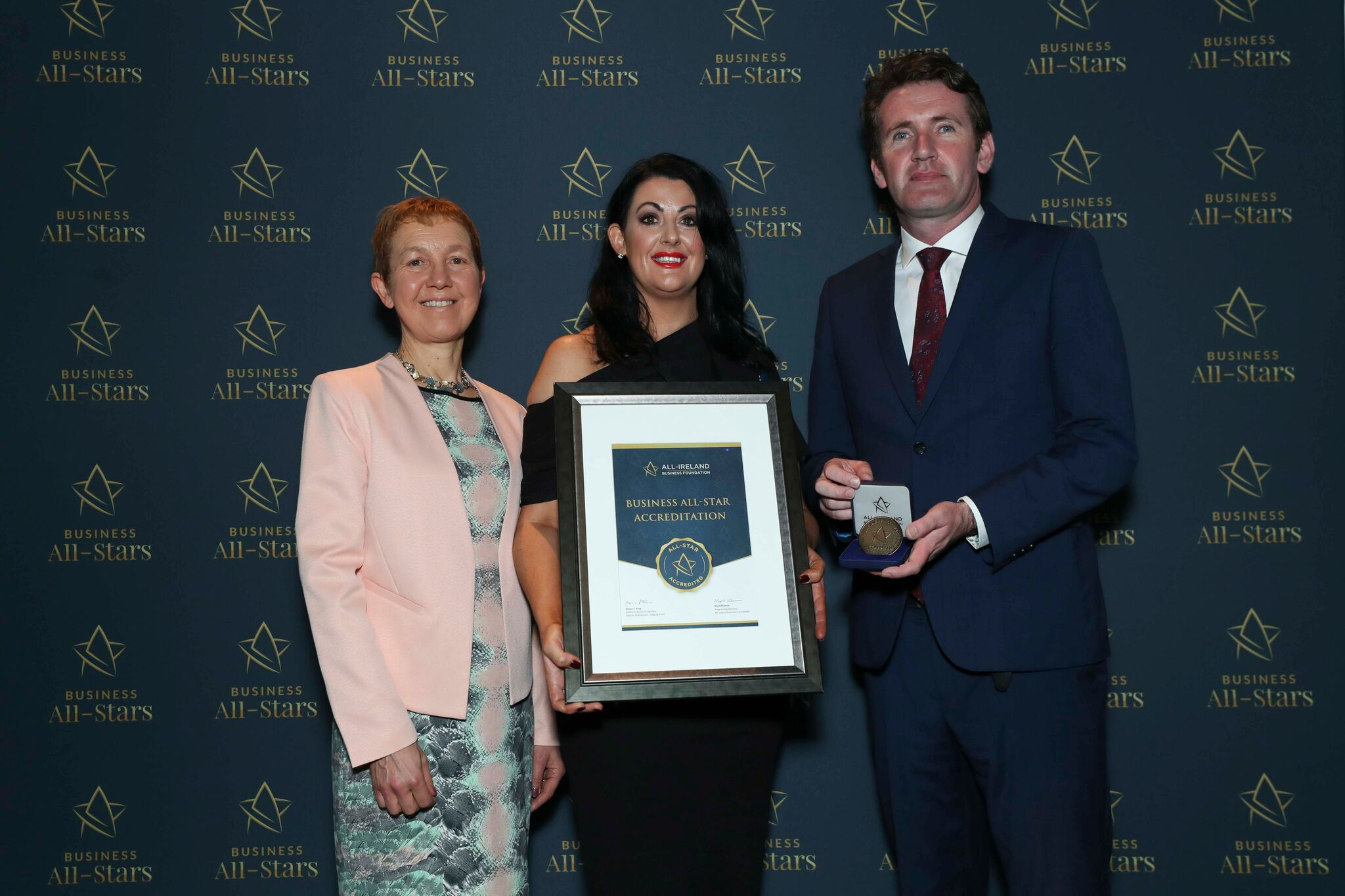 Bridgeen King - Bridgeen King Hair Dressing Hair Loss Clinic receiving Business All-Star Accreditation at Croke Park from Dr Briga Hynes, Kemmy Business School, University of Limerick and Senator Aodhán Ó Ríordáin, Spokesperson on Education and Skills, Gaeilge and the Gaeltacht.