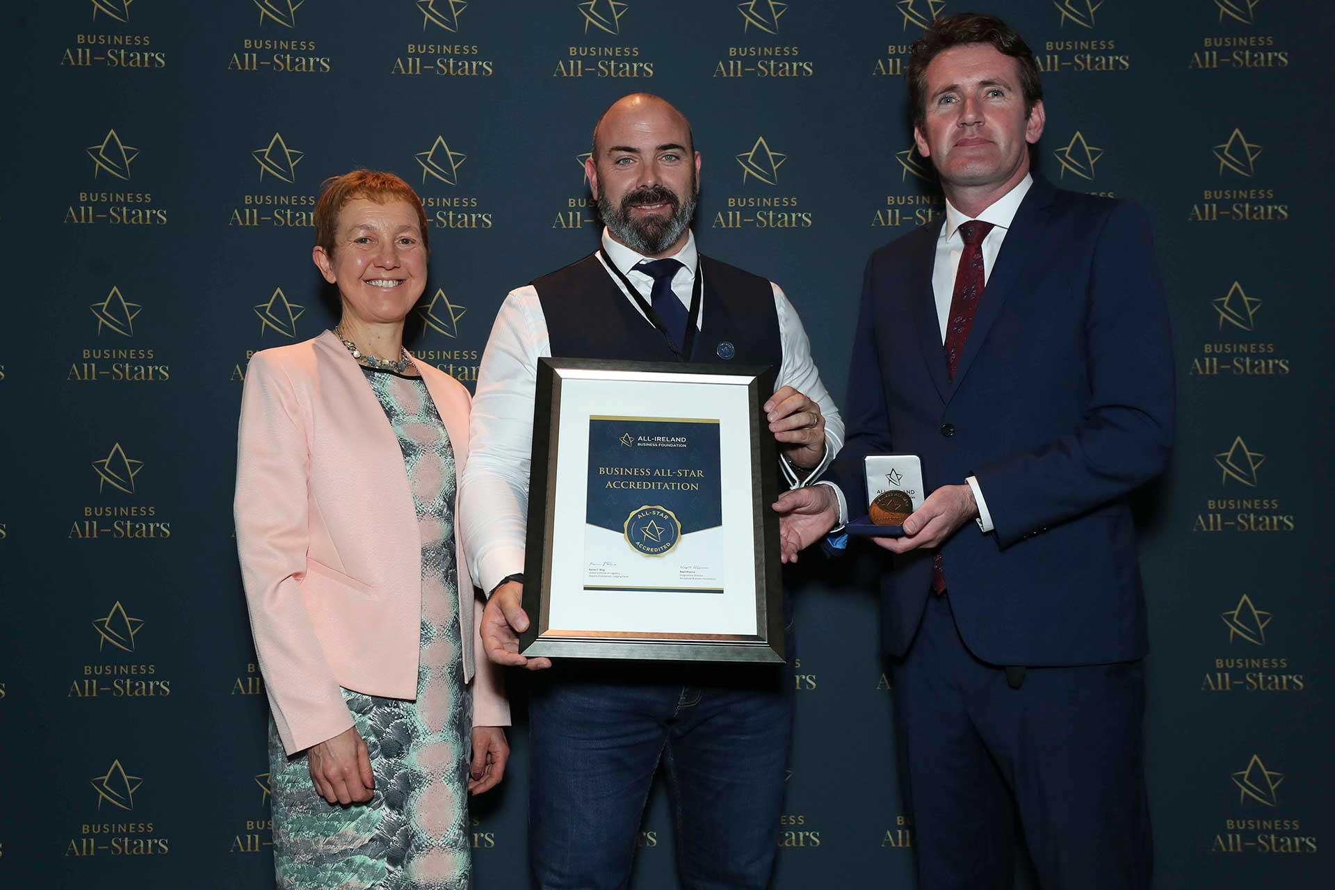Paddy Richards- iGate receiving Business All-Star Accreditation at Croke Park from Dr Briga Hynes, Kemmy Business School, University of Limerick and Senator Aodhán Ó Ríordáin, Spokesperson on Education and Skills, Gaeilge and the Gaeltacht.