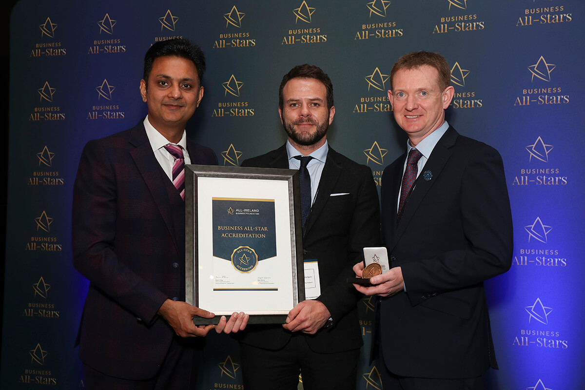 CAPTION: Brendan Rodgers & Declan Meagher - Carlton Dublin Airport, receiving Business All-Star Accreditation from Kapil Khanna, MD, AIBF at Croke Park