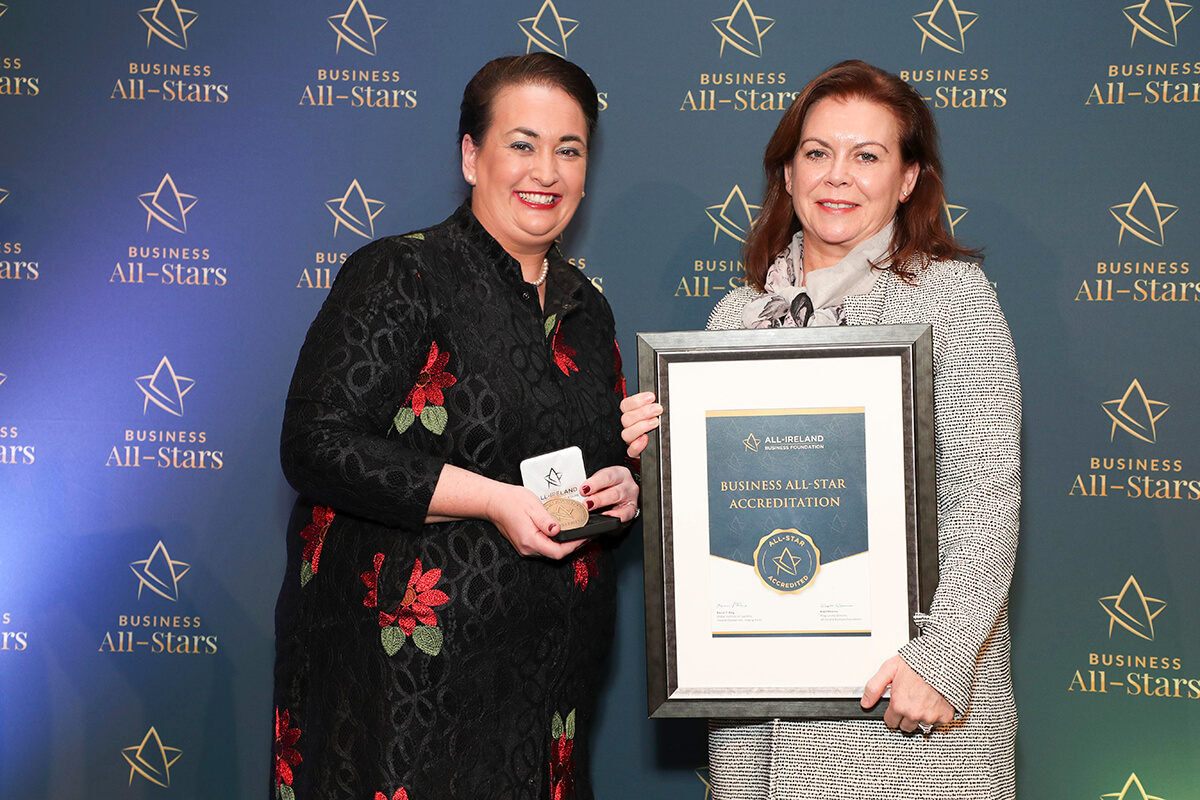 CAPTION: Mari Donellan - Dan & Monstro, receiving Business All-Star Accreditation from Elaine Carroll, CEO, All-Ireland Business Foundation at Croke Park.