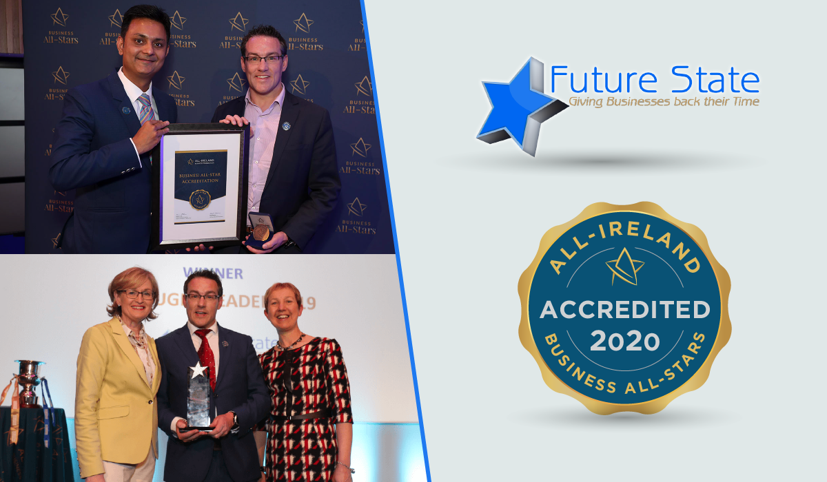 The Future State team celebrate after achieving Business All-Star Accreditation from the All-Ireland Business Foundation.