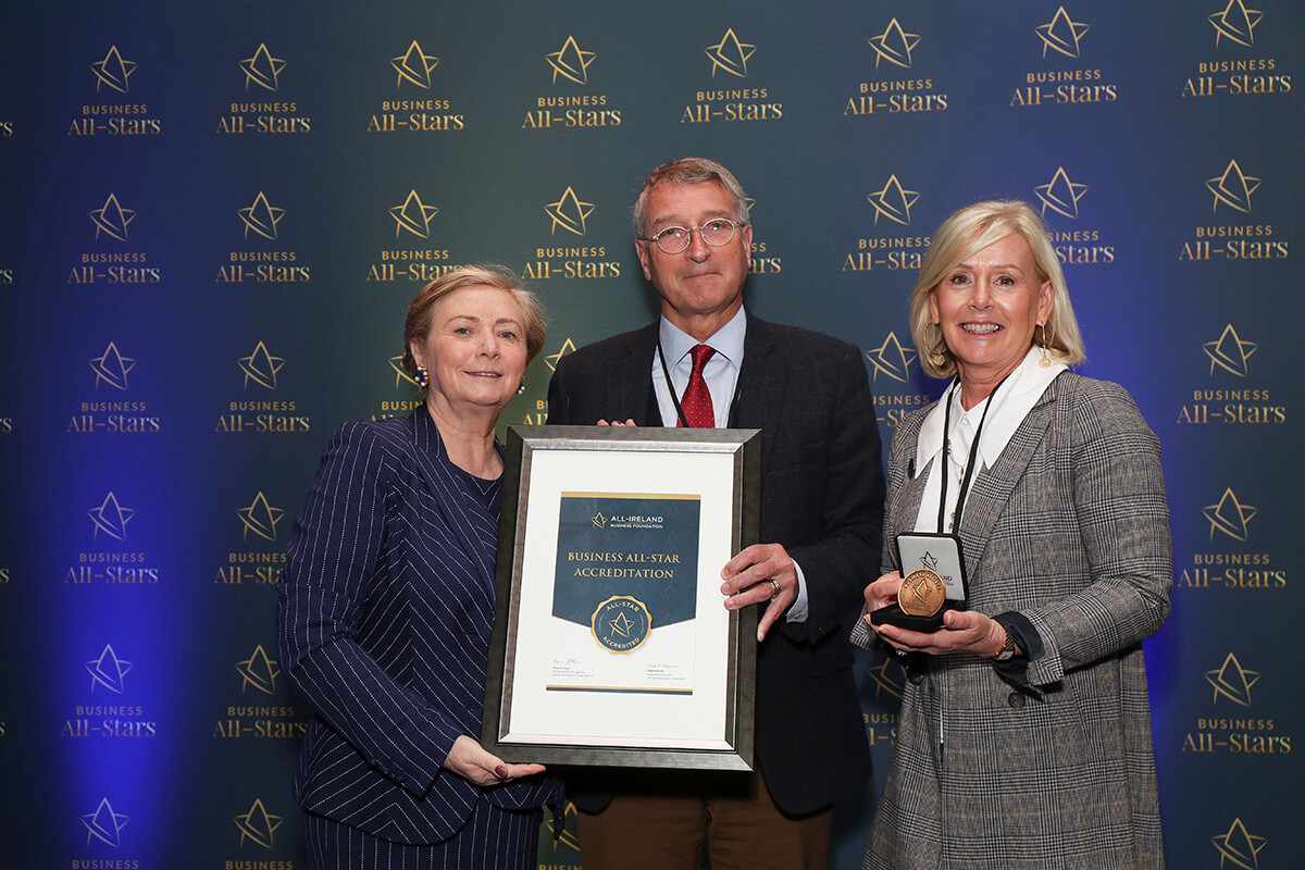 CAPTION: Gerry & Alison Browne - Gerry Browne Jewellers, receiving Business All-Star Accreditation from Frances Fitzgerald, MEP, at Croke Park
