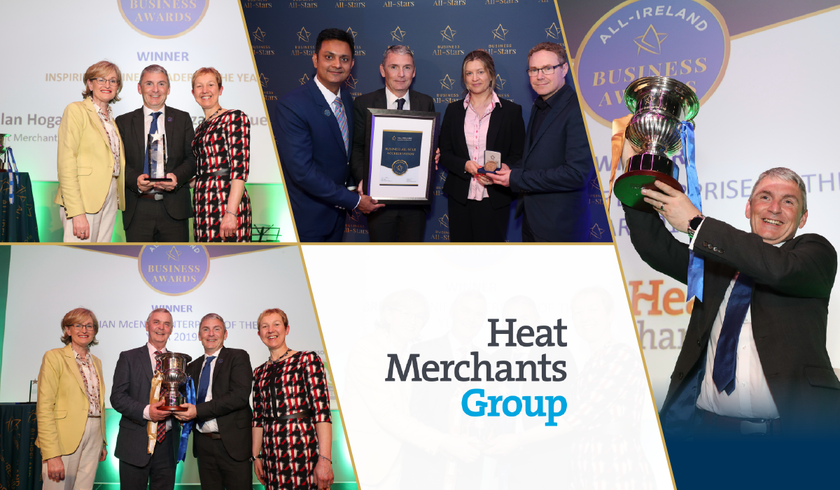 The Heat Merchants Group team celebrate after achieving Business All-Star Accreditation from the All-Ireland Business Foundation.
