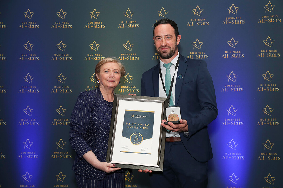 CAPTION: Marc Hines - Loss Assessors Ireland , receiving Business All-Star Accreditation from Frances Fitzgerald, MEP, at Croke Park