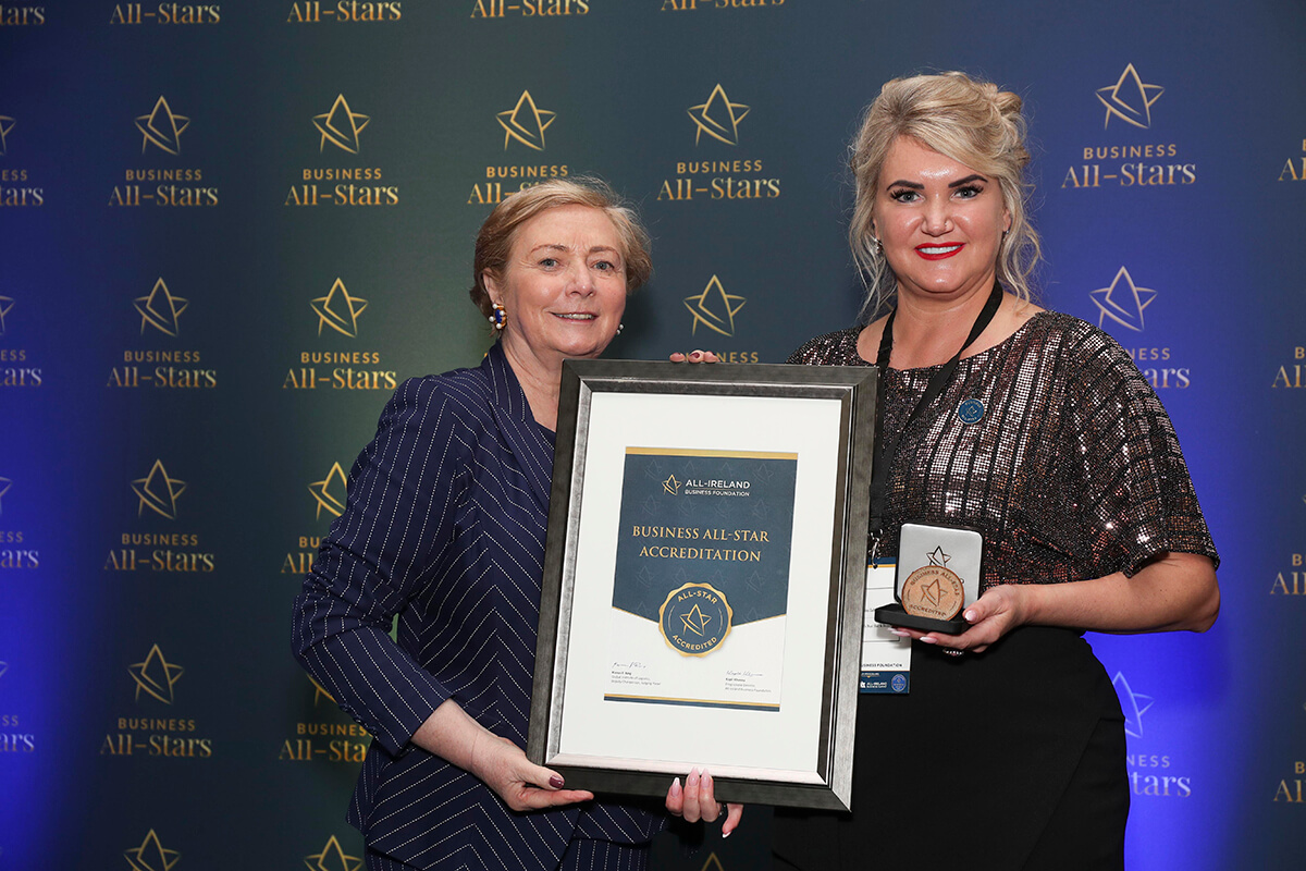 CAPTION: Michalina Zabarauskiene - Michalina's Nail Bar & Beauty, receiving Business All-Star Accreditation from Frances Fitzgerald, MEP, at Croke Park
