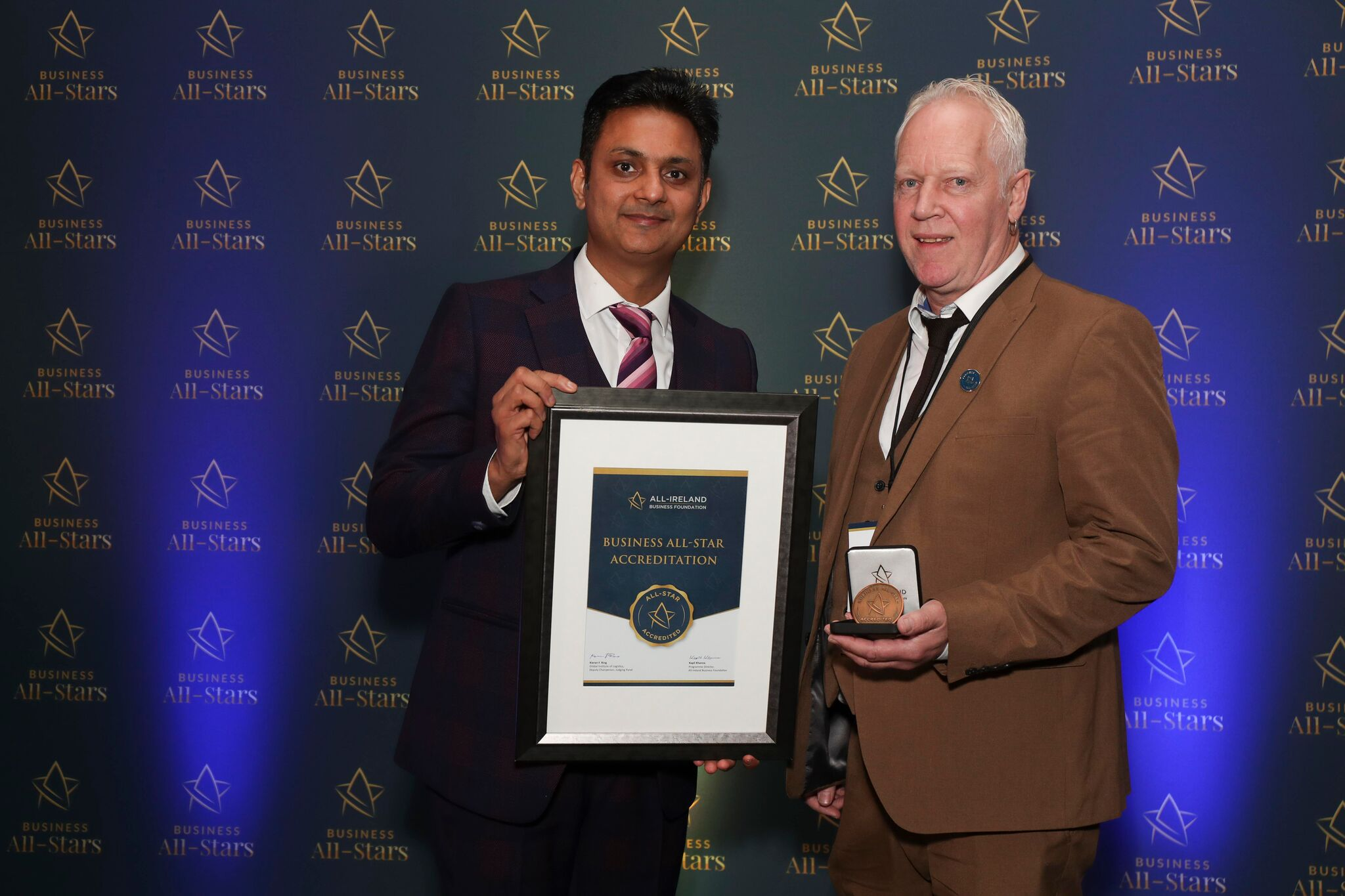 CAPTION: Philip O'Neil - Hollywood LED Letters, receiving Business All-Star Accreditation from Kapil Khanna, MD, AIBF at Croke Park