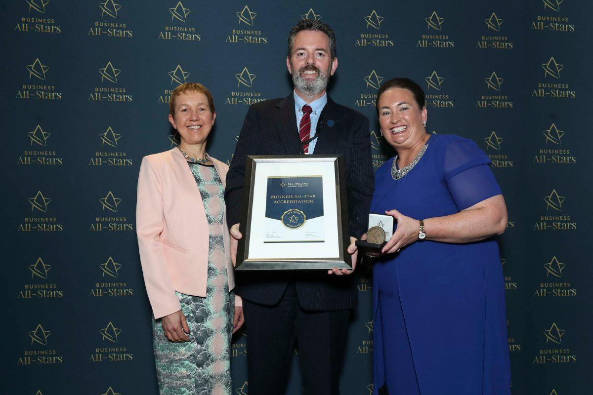 Philip Cullen - SEFS receiving Business All-Star Thought Leader Accreditation at Croke Park from Dr Briga Hynes, Kemmy Business School, University of Limerick and Elaine Carroll CEO, AIBF