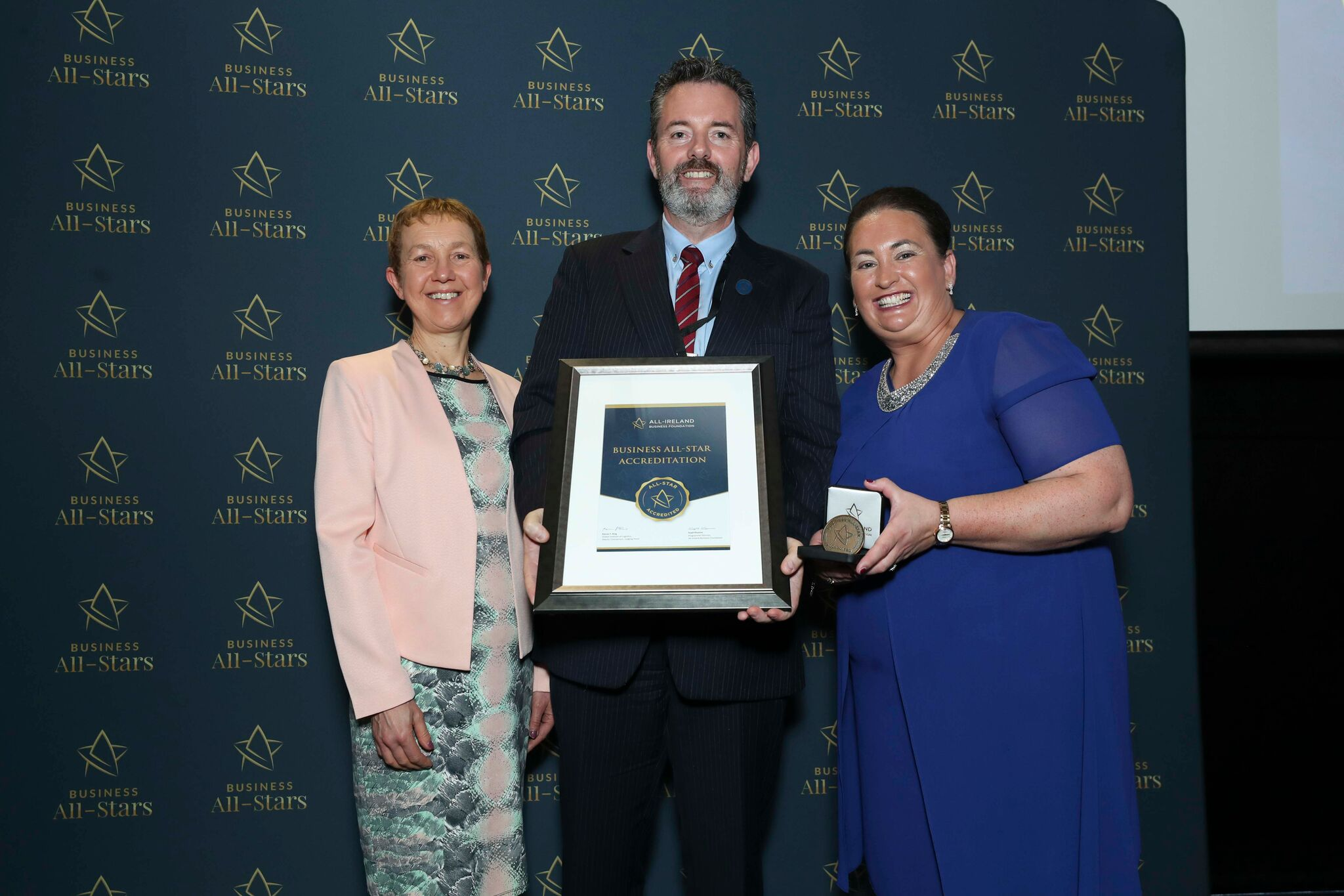 Philip Cullen - Southeast Financial Services receiving Business All-Star Thought Leader Accreditation at Croke Park from Dr Briga Hynes, Kemmy Business School, University of Limerick and Elaine Carroll CEO, All-Ireland Business Foundation.