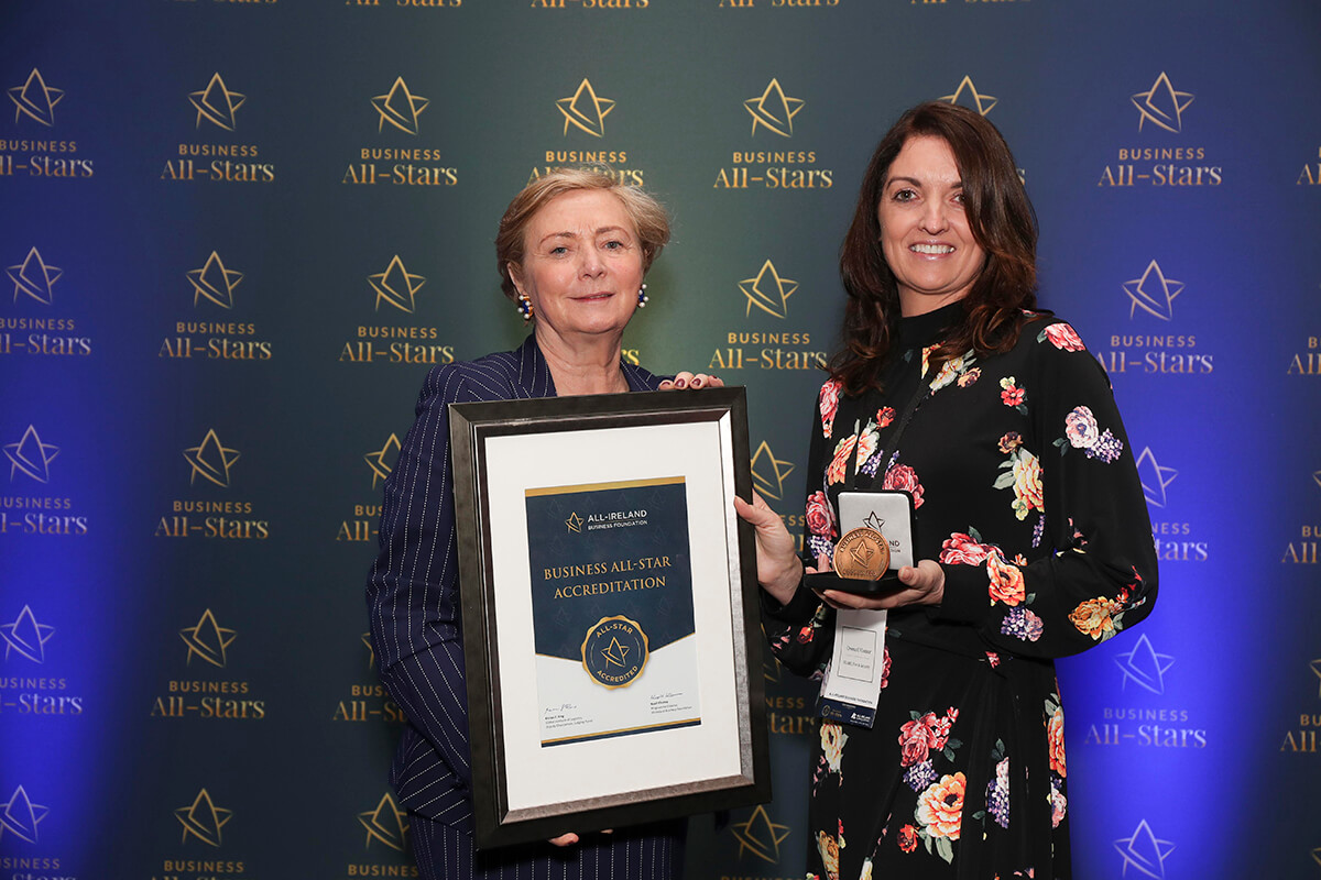CAPTION: Creena O'Connor - SEAKEL Fire & Security, receiving Business All-Star Accreditation from Frances Fitzgerald, MEP, at Croke Park