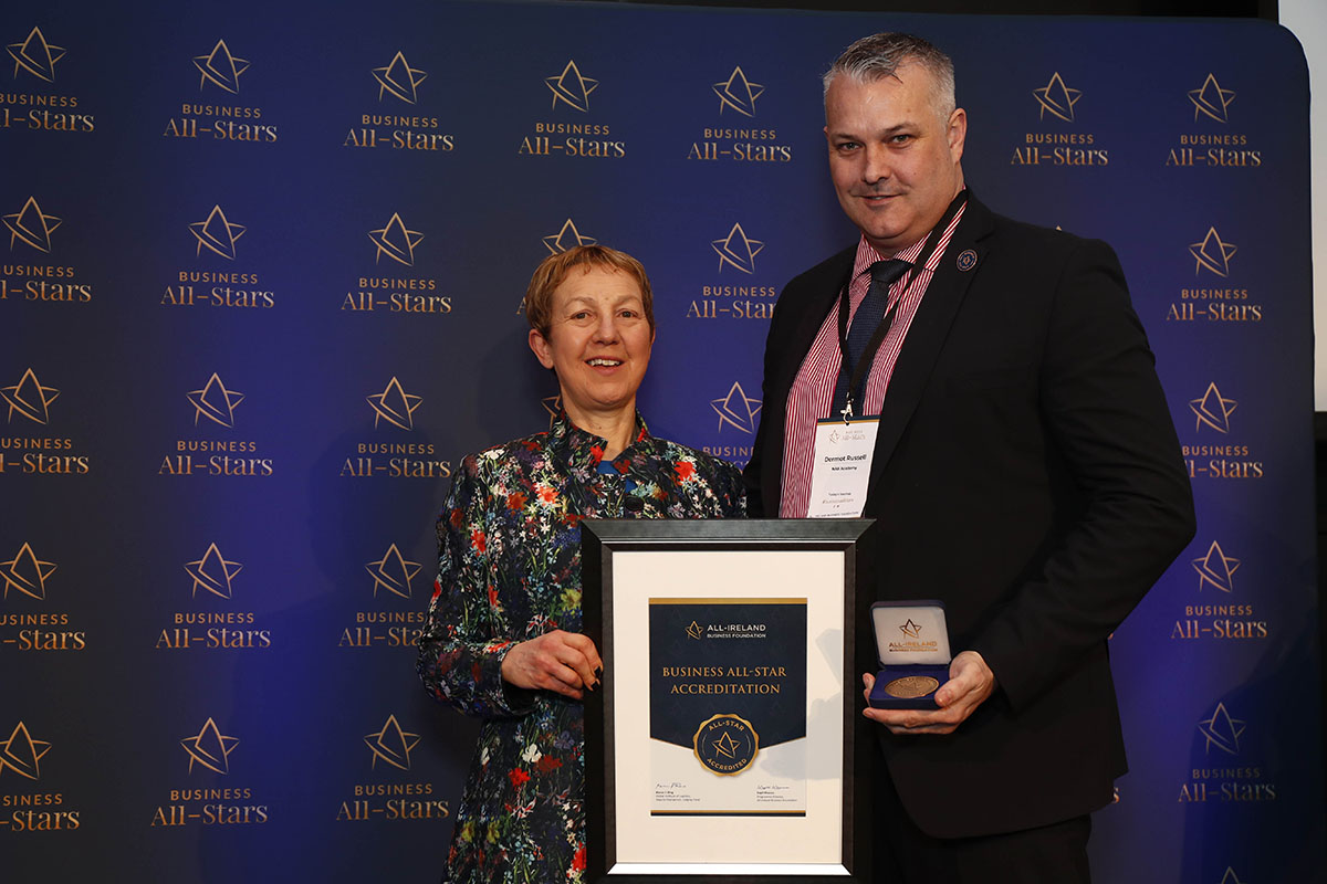 Dr. Briga Hynes, Kemmy Business School, University of Limerick presenting Dermot Russell, Director & Owner of The NAB Academy Ltd their All-Star Accreditation certificate at Croke Park.