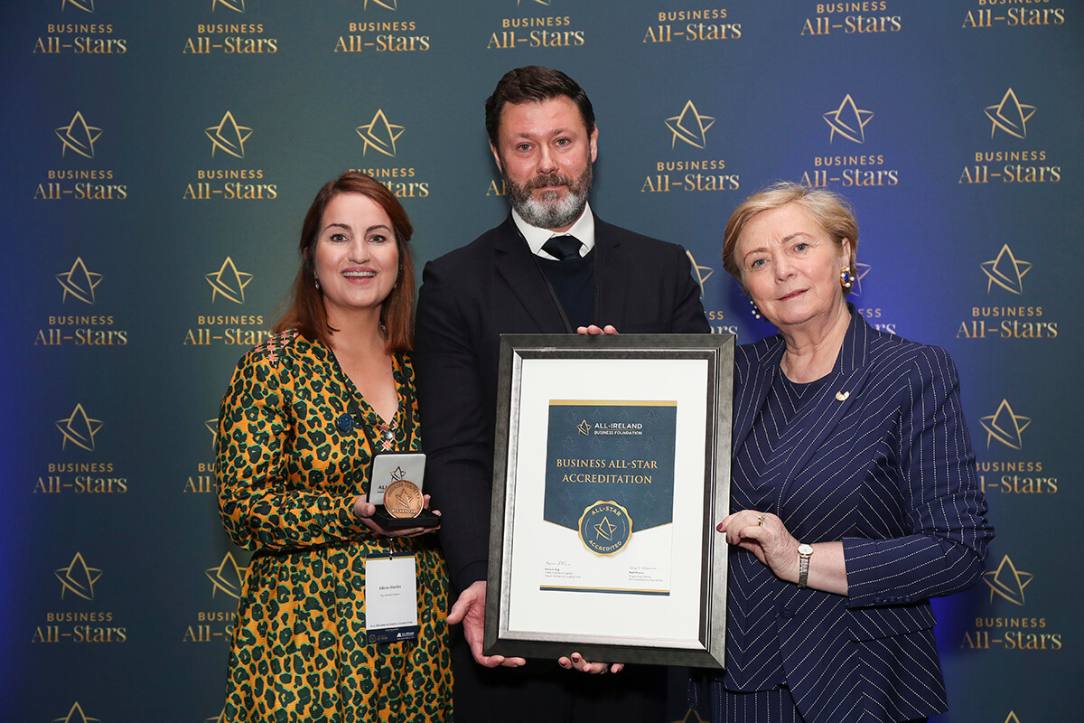 CAPTION: Aileen & Patrick Hanley - The Strand Cahore, receiving Business All-Star Accreditation from Frances Fitzgerald, MEP, at Croke Park