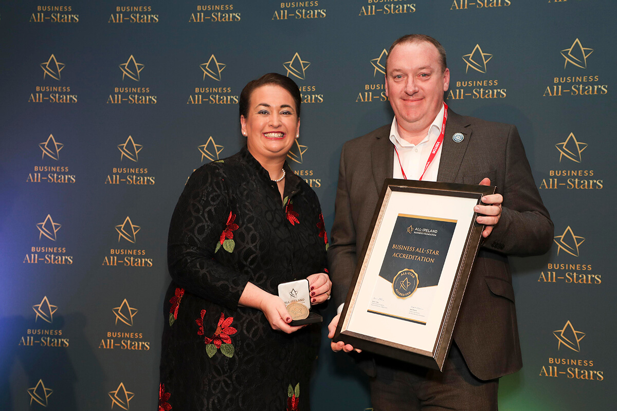 CAPTION: Stuart Anderson - XpertDPO, receiving Business All-Star Accreditation from Elaine Carroll, CEO, All-Ireland Business Foundation at Croke Park.