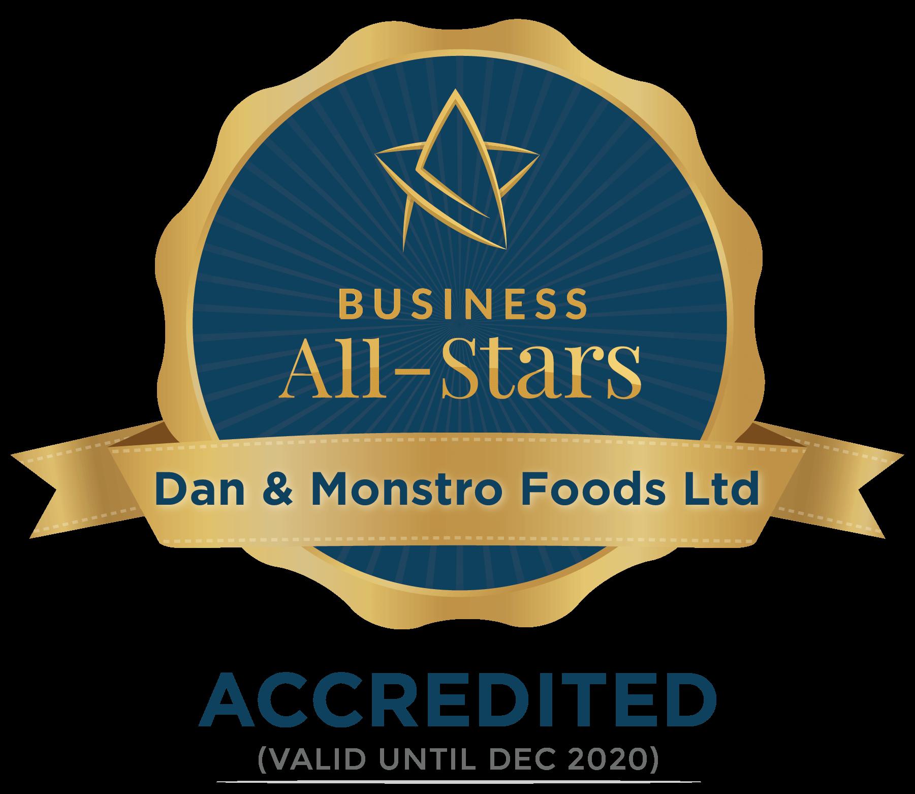 Dan & Monstro Foods Ltd - Business All-Stars Accreditation