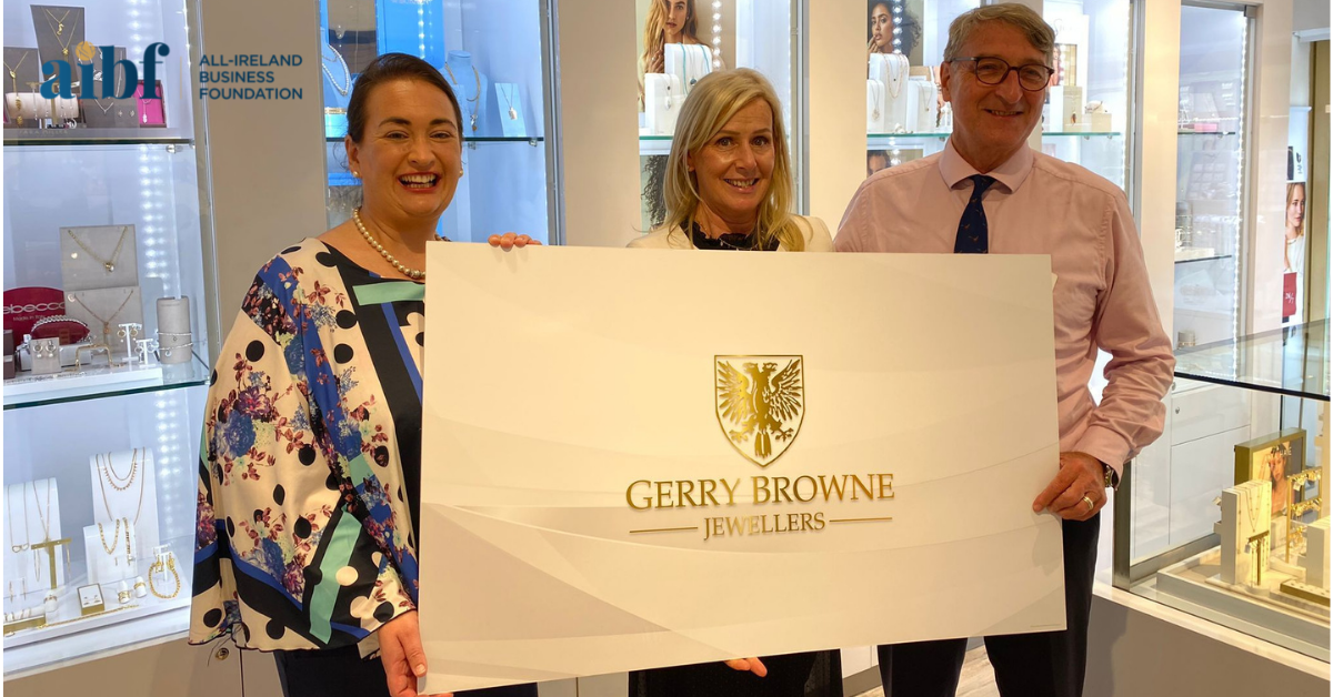 Pictured above is All-Ireland Business Foundations CEO Elaine Carroll with Alison and Gerry Browne of Gerry Browne Jewellers.