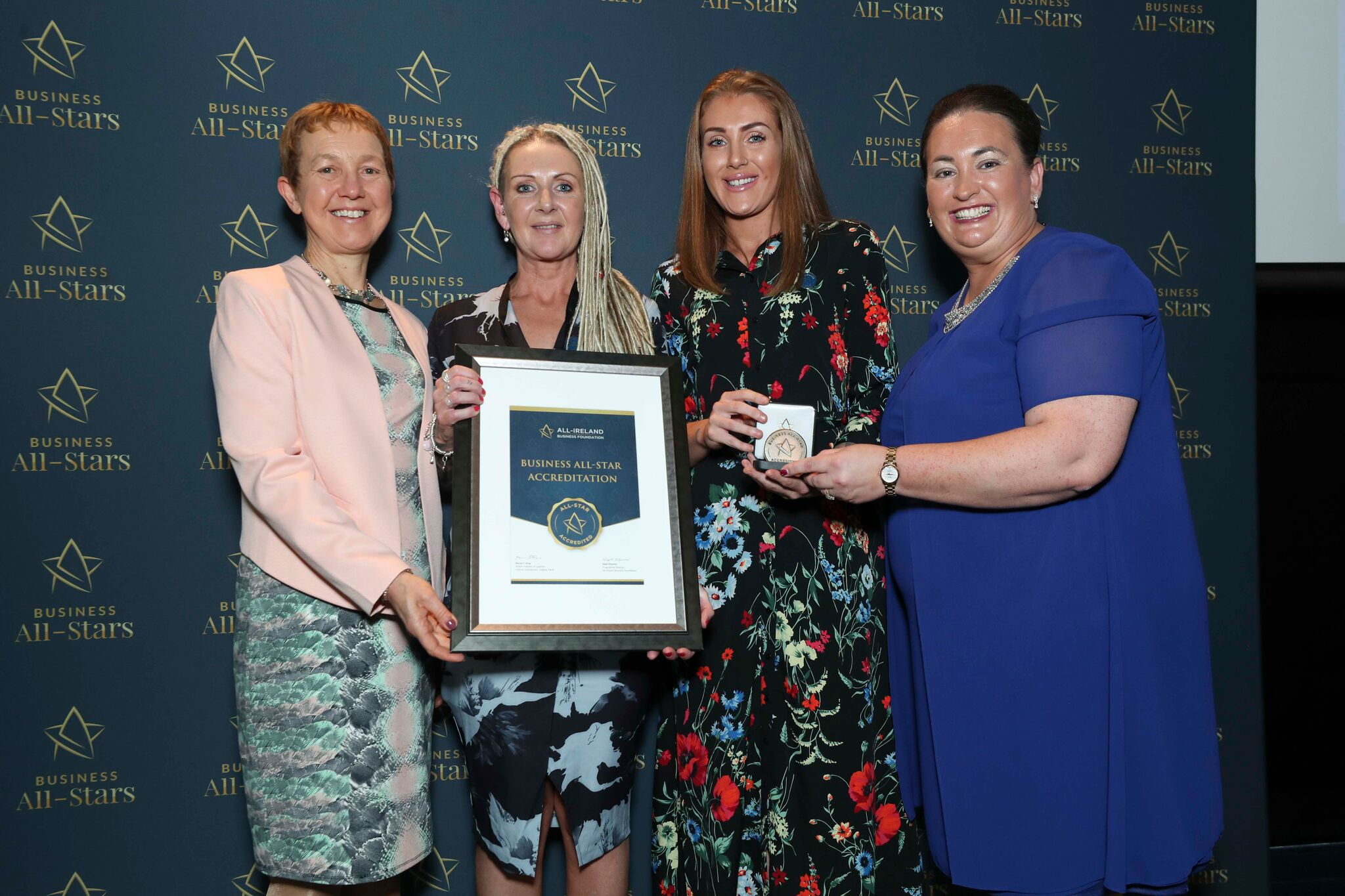 Loretta McDonald - Central Precast receiving Business All-Star Accreditation at Croke Park from Dr Briga Hynes, Kemmy Business School, University of Limerick and Elaine Carroll CEO, All-Ireland Business Foundation.