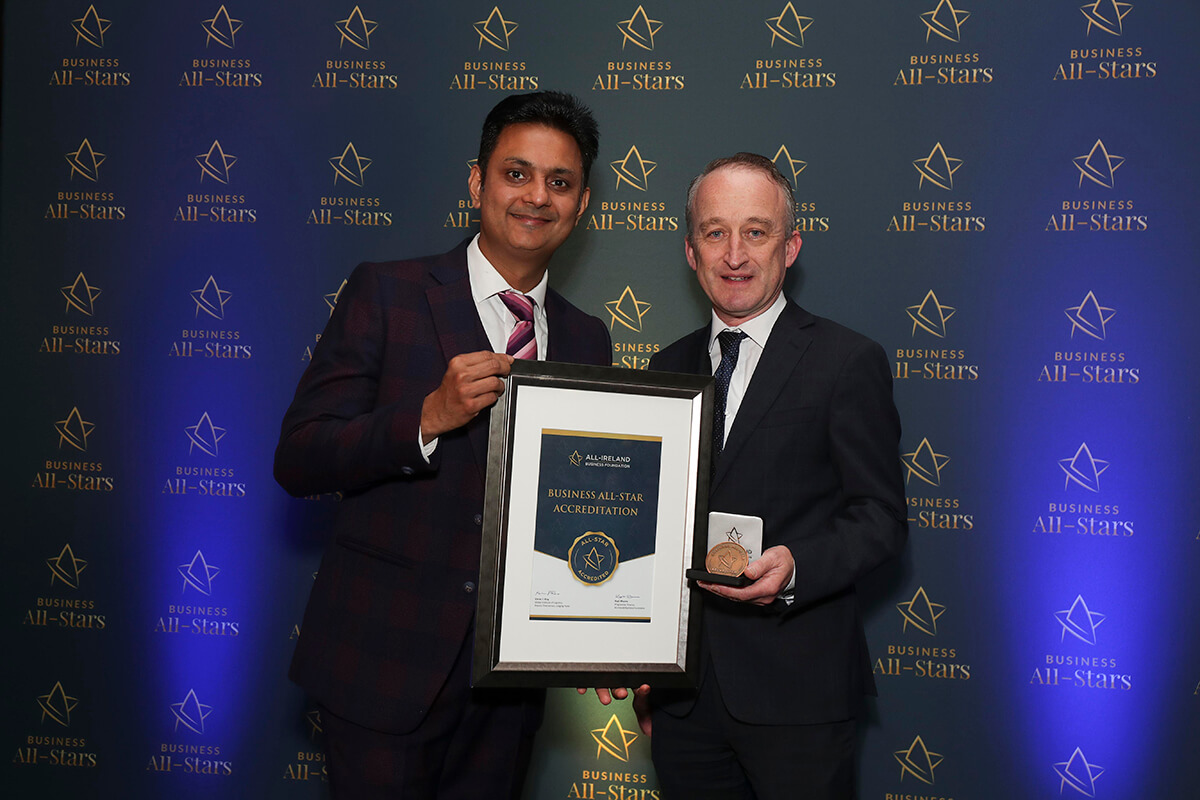 CAPTION: Sean Owens - s50cloud receiving Business All-Star Accreditation from Kapil Khanna, MD, AIBF at Croke Park