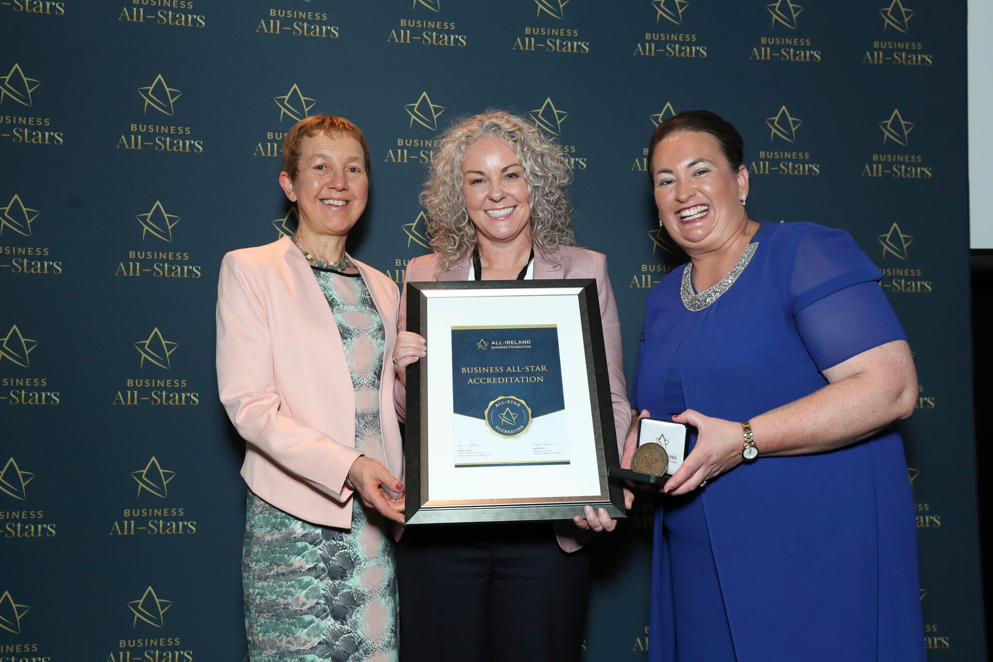 Louise Murphy - Cyc-LOK receiving Business All-Star Accreditation at Croke Park from Dr Briga Hynes, Kemmy Business School, University of Limerick and Elaine Carroll CEO, All-Ireland Business Foundation.