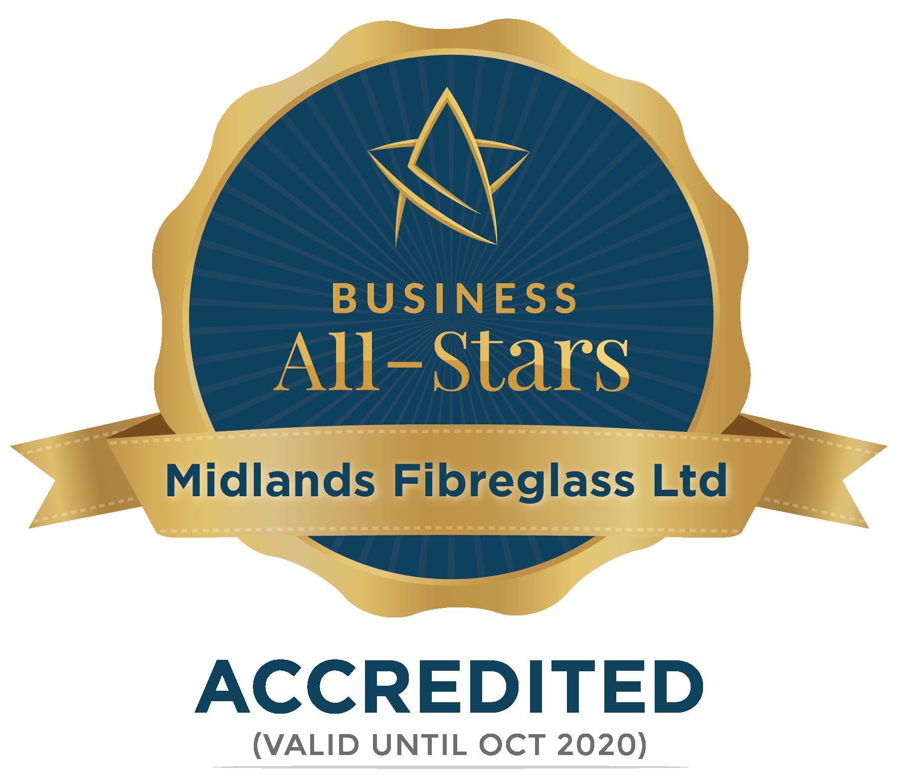 Midlands Fibreglass Ltd - Business All-Stars Accreditation