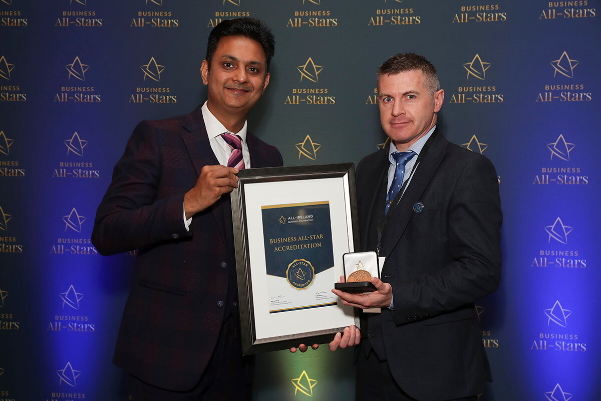 CAPTION: Donal Traynor - Community Finance Ireland, receiving Business All-Star Accreditation from Kapil Khanna, MD, AIBF at Croke Park