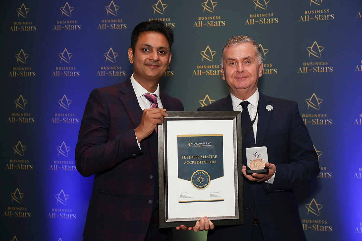 CAPTION: Garrett Harte - Harte Media, receiving Business All-Star Thought Leader Accreditation from Kapil Khanna, MD, AIBF at Croke Park