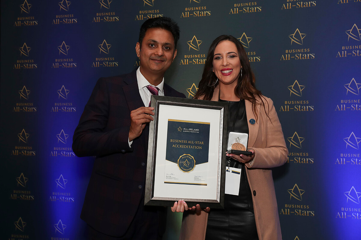 CAPTION: Christine Dolan - Quayside Shopping Centre Sligo, receiving Business All-Star Accreditation from Kapil Khanna, MD, AIBF at Croke Park