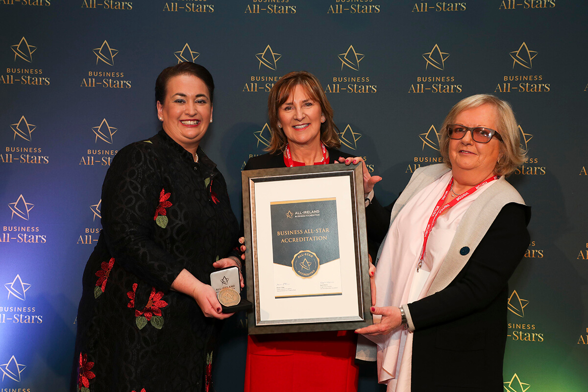 CAPTION: Anne Fanthom & Bernice Brennan - RecruitmentPlus, receiving Business All-Star Accreditation from Elaine Carroll, CEO, All-Ireland Business Foundation at Croke Park.