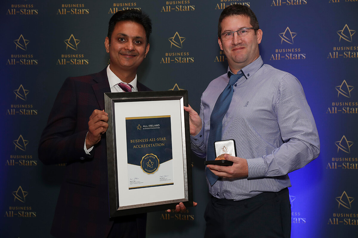 CAPTION: Des Ryan - Ryan Structural Steel Services receiving Business All-Star Accreditation from Kapil Khanna, MD, AIBF at Croke Park