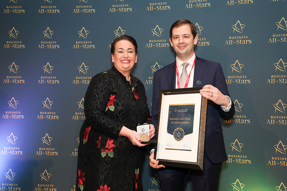 CAPTION: Kevin Grant - The Green Office Ltd, receiving Business All-Star Accreditation from Elaine Carroll, CEO, All-Ireland Business Foundation at Croke Park.