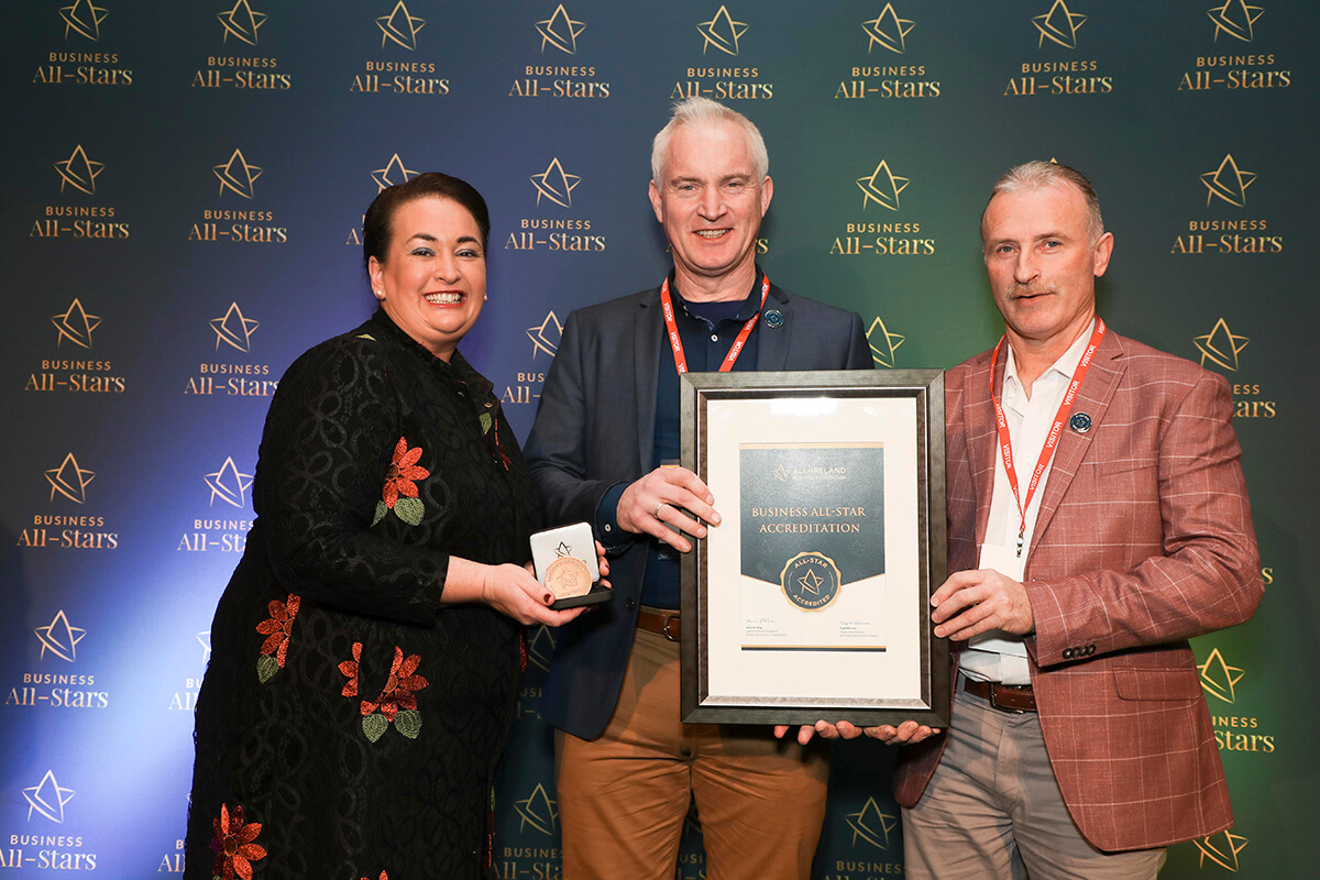 CAPTION: Mark Kelly & Gerry McElligott - The Kick Company, receiving Business All-Star Accreditation from Elaine Carroll, CEO, All-Ireland Business Foundation at Croke Park.