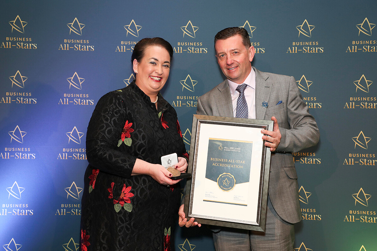 CAPTION: Jim Costello - Van Buddy, receiving Business All-Star Accreditation from Elaine Carroll, CEO, All-Ireland Business Foundation at Croke Park.