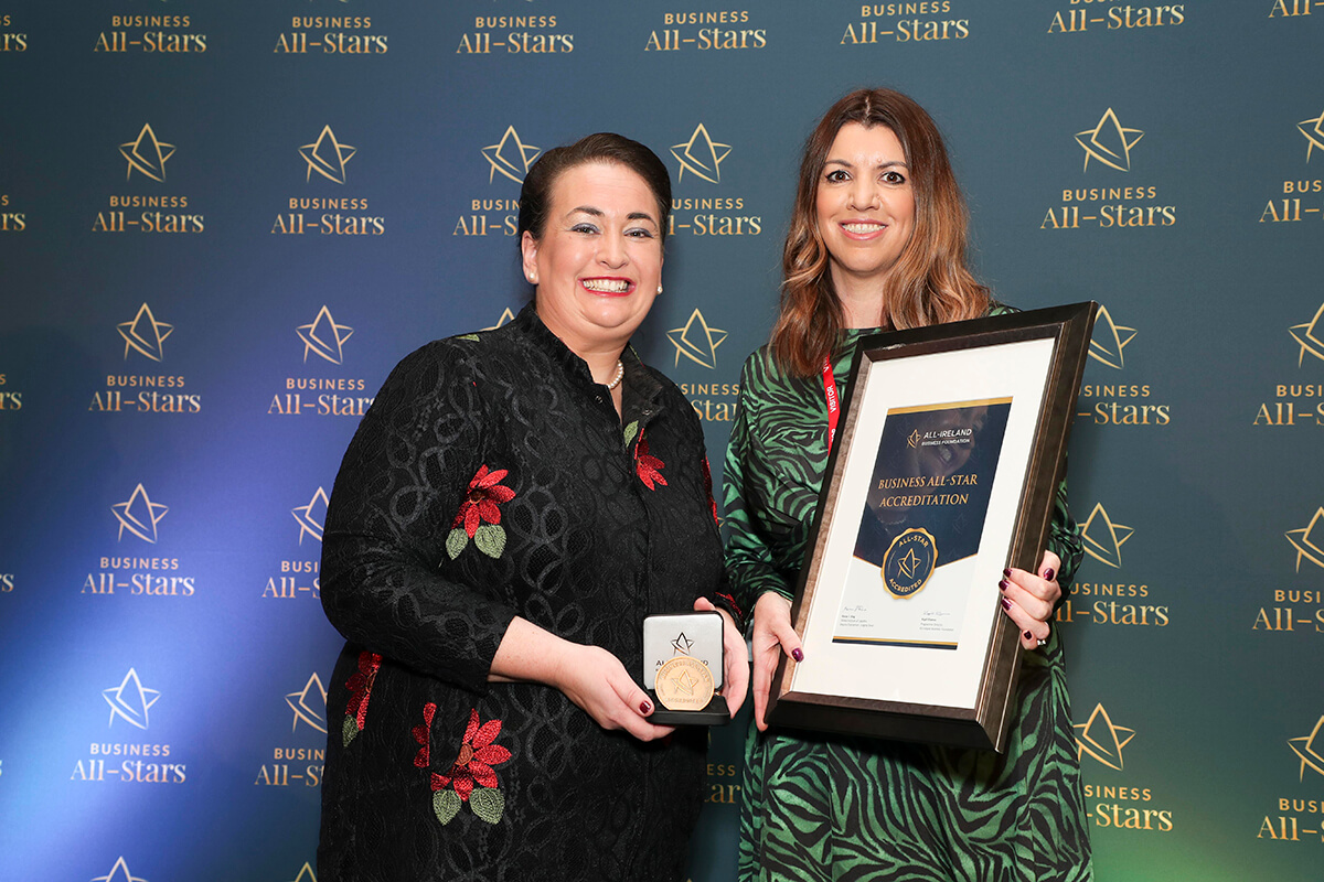 CAPTION: Maria Smith - Aura Skin and Laser Clinic, receiving Business All-Star Accreditation from Elaine Carroll, CEO, All-Ireland Business Foundation at Croke Park.