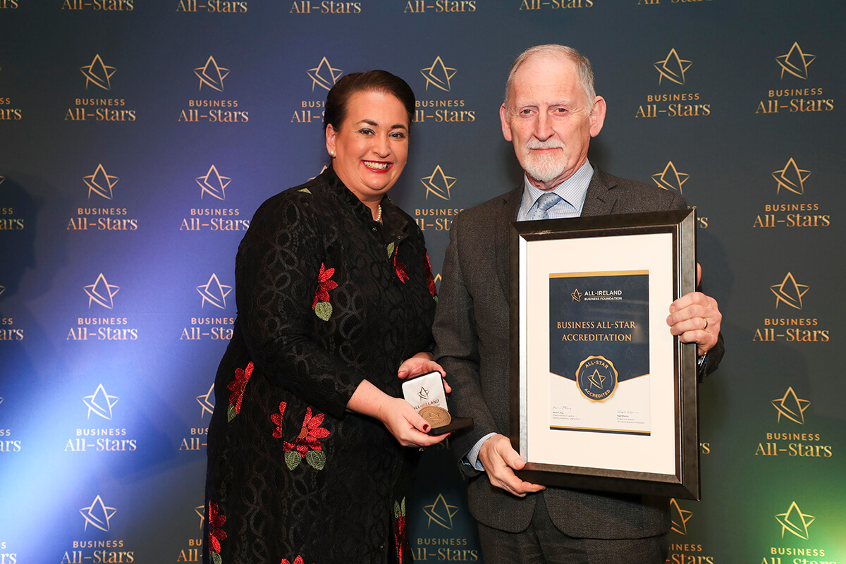 CAPTION: John McNamara - BCM Limited, receiving Business All-Star Franchise Consultancy 2020 Accreditation from Elaine Carroll, CEO, All-Ireland Business Foundation at Croke Park.