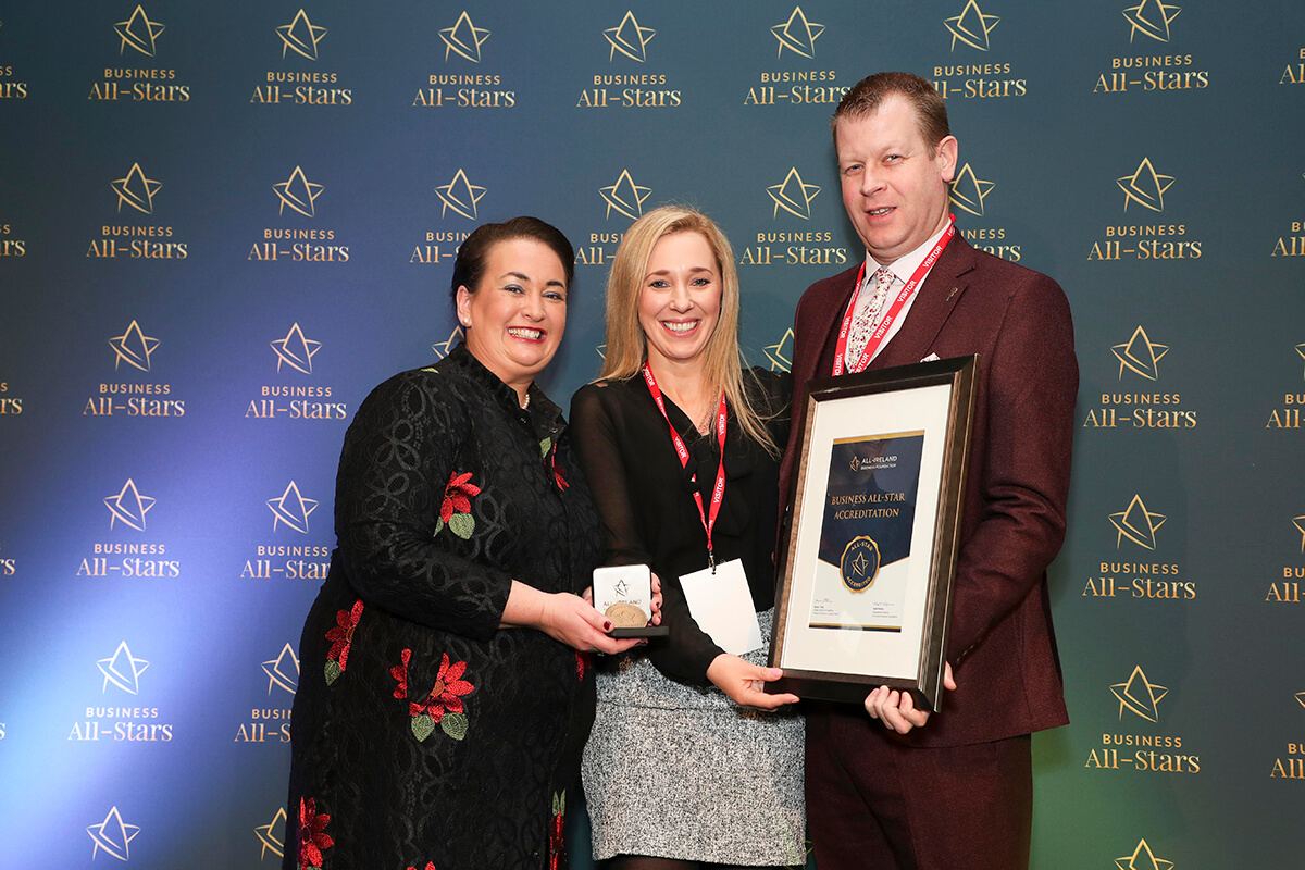 CAPTION: Keith & Clare Spain - Executive Premier Travel, receiving Business All-Star Accreditation from Elaine Carroll, CEO, All-Ireland Business Foundation at Croke Park.