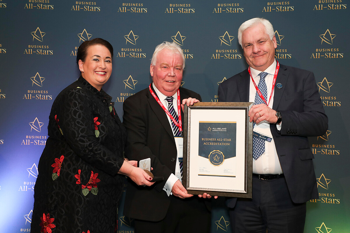 CAPTION: Terry Allen & Martin Cunningham - Hawthorn Logistics Solution, receiving Business All-Star Accreditation from Elaine Carroll, CEO, All-Ireland Business Foundation at Croke Park.