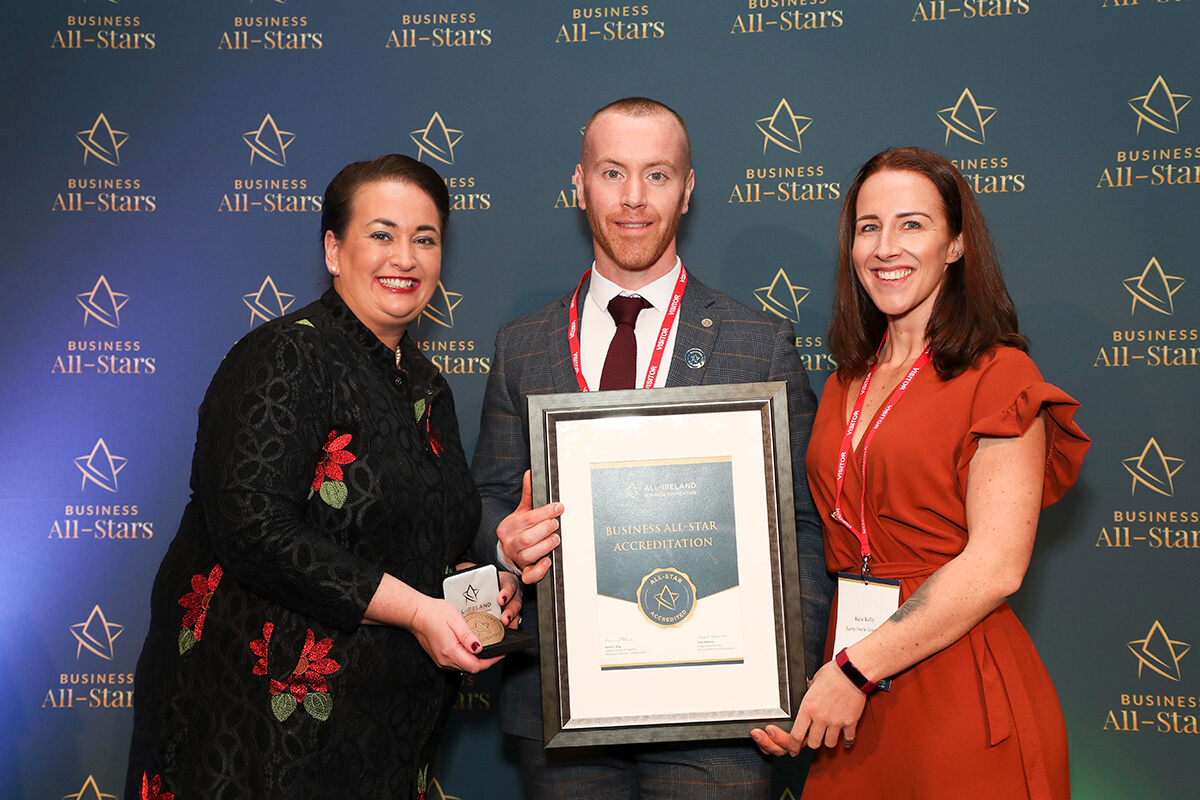 CAPTION: Larry Doyle & Kate Kelly - Larry Doyle Coaching, receiving Business All-Star Accreditation from Elaine Carroll, CEO, All-Ireland Business Foundation at Croke Park.