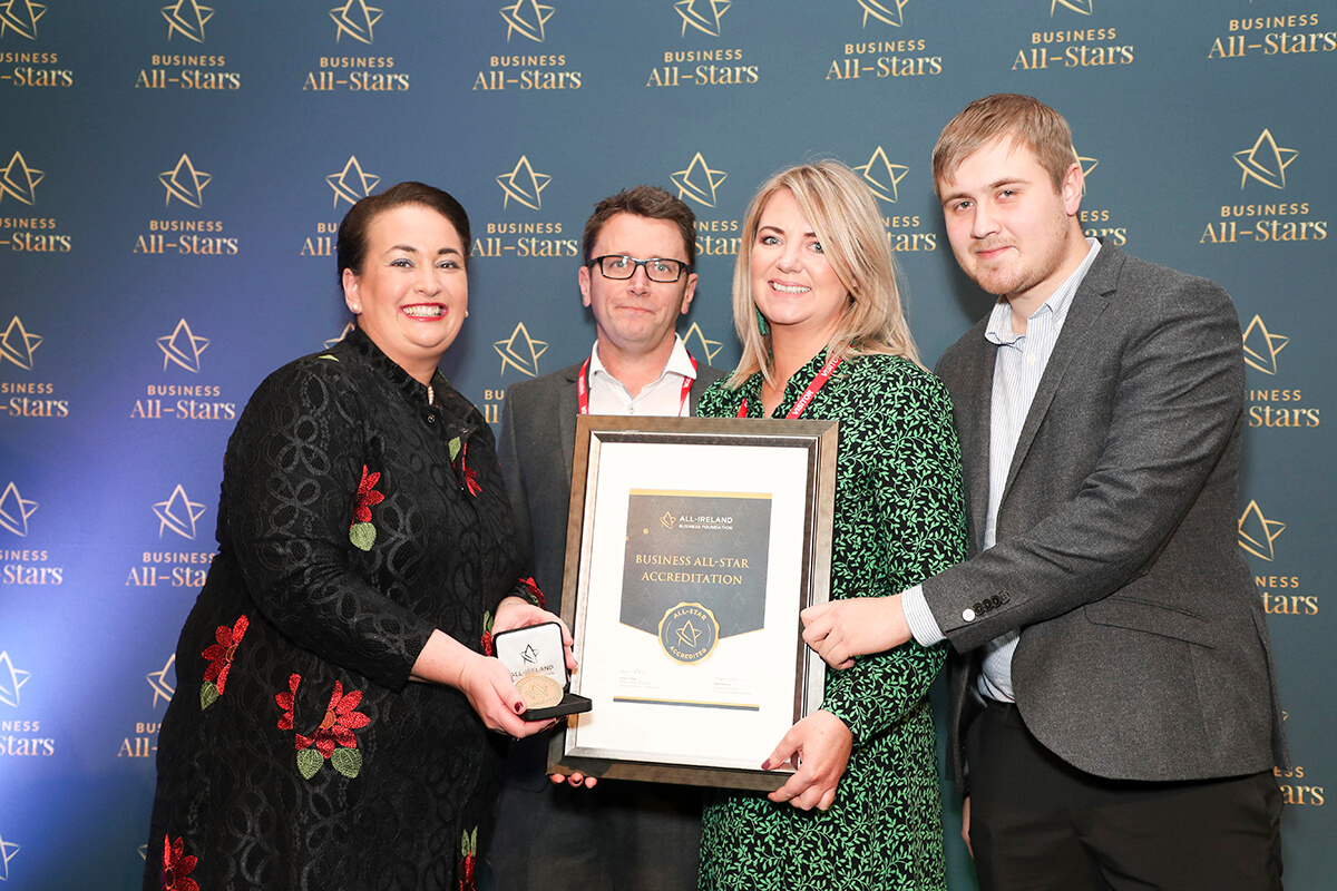 CAPTION: Alex Rudnitsky, Elaine Hennesey & Kieran Calvert - Little Blue Studio, receiving Business All-Star Accreditation from Elaine Carroll, CEO, All-Ireland Business Foundation at Croke Park.