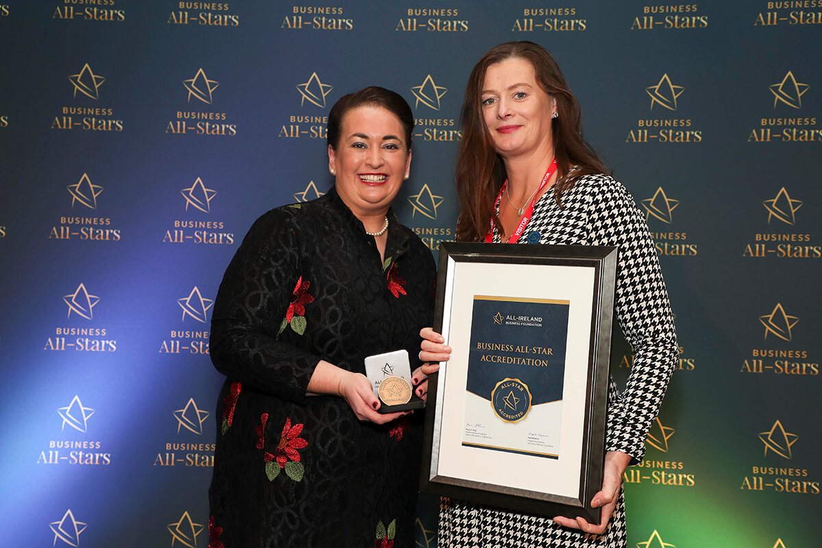 CAPTION: Siobhan Pringle - Mullingar and Enfield Opticians, receiving Business All-Star Accreditation from Elaine Carroll, CEO, All-Ireland Business Foundation at Croke Park.