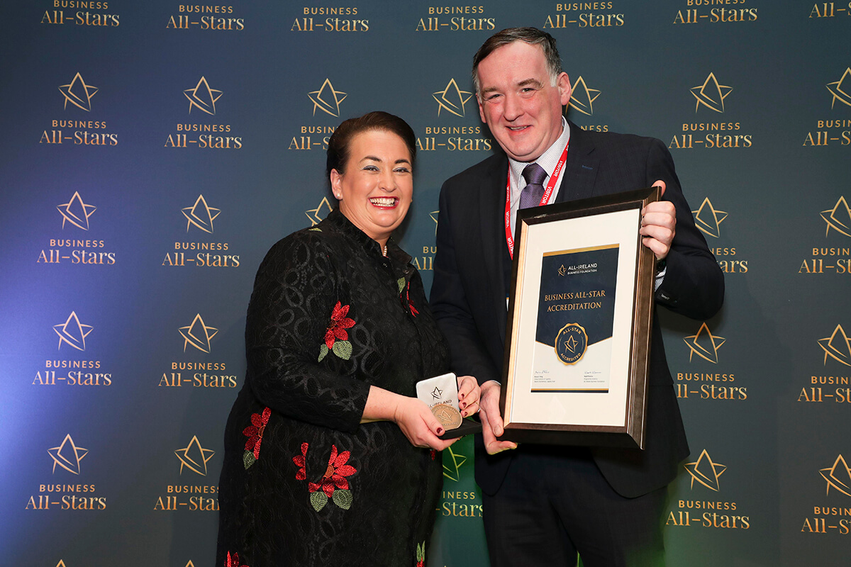 CAPTION: Paddy McMenamin - The Hatter Coffee Co, receiving Business All-Star Accreditation from Elaine Carroll, CEO, All-Ireland Business Foundation at Croke Park.
