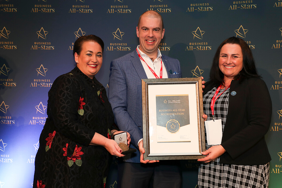 CAPTION: Kevin Nugent & Niamh Gallagher - Tribe Hospitality Group, receiving Business All-Star Accreditation from Elaine Carroll, CEO, All-Ireland Business Foundation at Croke Park.