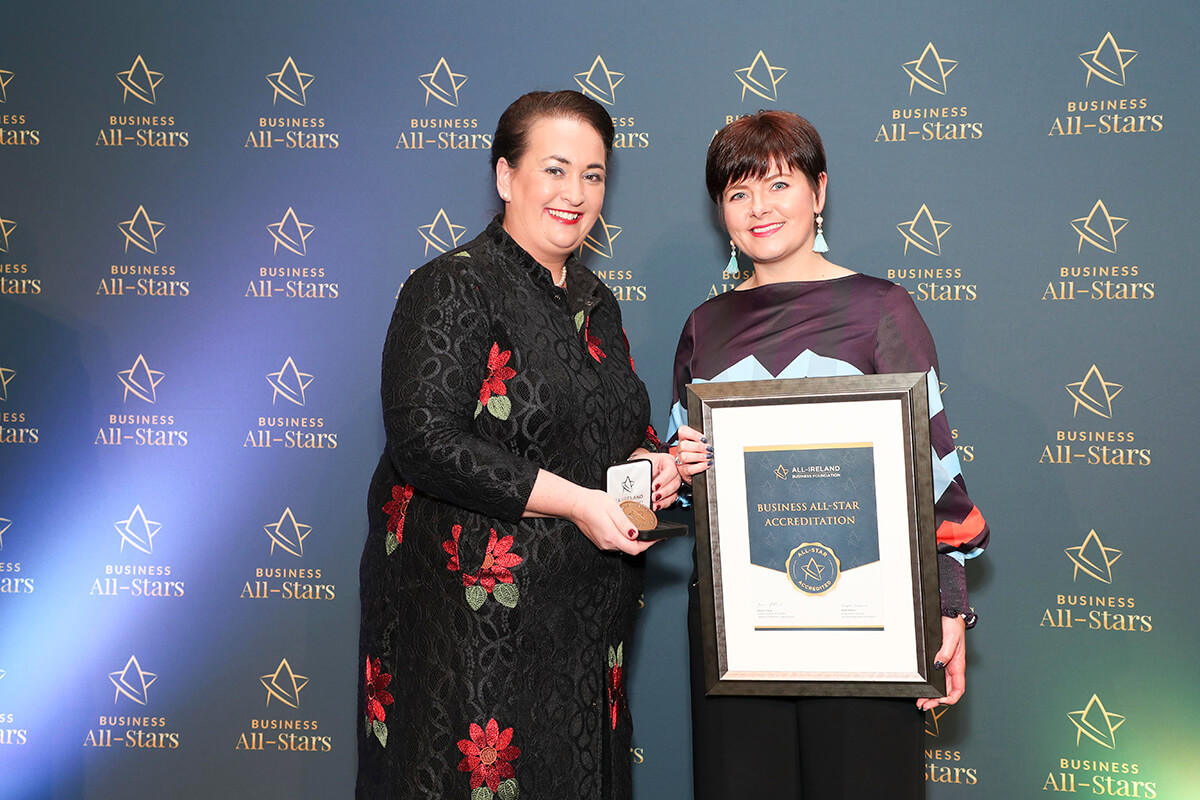 CAPTION: Ciara Crossan - WeddingDates, receiving Business All-Star Thought Leader Accreditation from Elaine Carroll, CEO, All-Ireland Business Foundation at Croke Park.