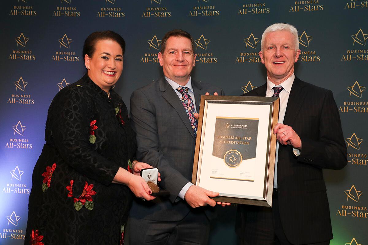 CAPTION: Glenn Heasley & George Ellis - Go Fly Your Kite, receiving Business All-Star Accreditation from Elaine Carroll, CEO, All-Ireland Business Foundation at Croke Park.